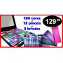 Sombra 120 Cores Ruby Rose + Kit Pincéis Macrilan +3 Brindes