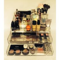 Porta Maquiagem Organizador Grande 2 Gavetas Acrílico + Mimo
