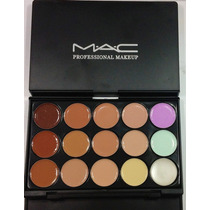 Paleta Corretivo E Base Mac-15 Tons+pincel 190 Mac.p.entrega