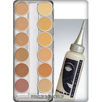 Kit Kryolan Dermacolor Paleta A 12 Cores + Diluidor Hd 75ml