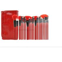 Kit Com 24 Pincéis Profissional Vermelho+bolsa,frete Grátis
