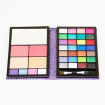 Kit Maquiagem Sombra 3d Blush Batom Pó Facial Jasmyne -lilás
