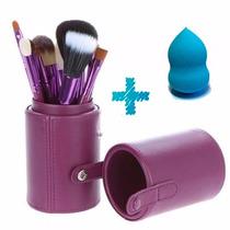 Kit Com 12 Pincéis Para Maquiagem - Porta Pincéis + Brinde