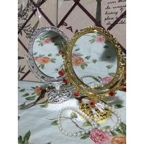 Espelho De Mesa Maquiagem Provençal Princesa Dupla Face P