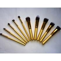 Kit Com 10 Pinceis Para Maquiagem - Kabuki E Precisão