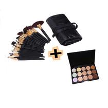 Pinceis Maquiagem 32 Kit + Paleta Corretivos 15 Cores