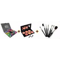Kit Maquiagem - 98 Sombras + Blush 6 Cores + Kit 07 Pincéis