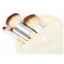 Kit Pinceis Para Maquiagem E Necessárie 4 Peças Bambu
