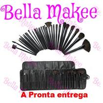 Kit Com 32 Pincéis Maquiagem Com Case A Pronta Entrega