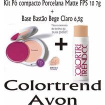Kit Colortrend Avon Base Bastão Bege Claro + Pó Porcelana