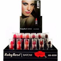 Lote Kit Batom Ruby Rose Art Make Up C/ 48 Verão + Brinde