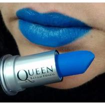 Batom Queen Stilo Bastão Matte Fosco Cores Vermelho Ou Azul
