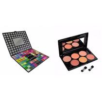 Kit Maquiagem - Paleta Sombras 98 Cores 3d + Blush 6 Cores.