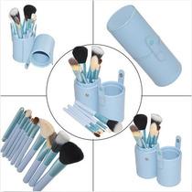 Kit Com 12 Pincéis Para Maquiagem - Com Porta Pincéis Couro