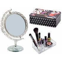 Espelho + Lata + Organizador Acrilico Maquiagem Jóia = Kit 3