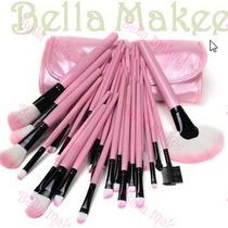 Kit Maquiagem Profissional 22 Pinceis Rosa A Pronta Entrega