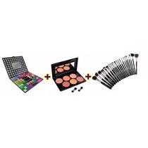 Kit Maquiagem - 98 Sombras + Blush 6 Cores + Kit 22 Pincéis