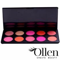 Ollen Paleta De Blushes 10 Cores Profissional Maquiagem