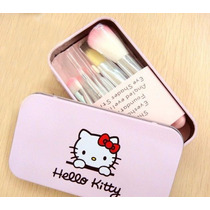 Kit Pincel Hello Kitty - 7 Pincéis (incluso Estojo)