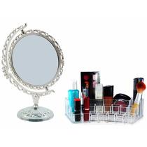 Kit Espelho Maquiagem E Organizador Acrílico 15 Batons Pince