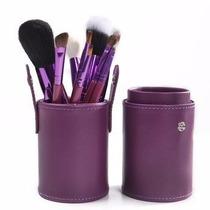 Kit Com 12 Pincéis Pincel + Case Copo Alta Qualidade Roxa