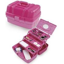 Maleta Mega Bag Rosa Com Divisórias P/ Manicure E Maquiagem