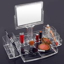 Porta Maquiagem Grande Acrílico Organizador C/ Espelho 2 Lad