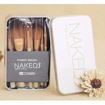 Kit 12 Pincel Maquiagem Naked 3 Power Brush Com Estojo Lata