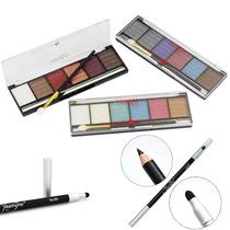 Kit 3 Paletas Sombra 3d Fenzza + Lápis E Esfumaçador Jasmyne