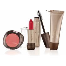 Kit Maquiagem Natura Aquarela Blush + Batom + Mascara + Base