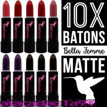 10 Batom Bella Femme Matte Fosco Sortidos Tipo Mac Maybeline