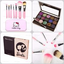 Paleta 15 Cores Sombras Barbie 3d + Kit Pinceis Hello Kitty