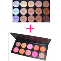 Kit Maquiagem Paleta Contorno E Bases 15 Tons + Paleta Blush
