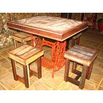 Mesa Pe De Maquina Antiga Com 4 Banquetas