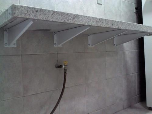 Mármore E Granitos Suporte Mão Francesa (par) 45 Cm  R$ 49,00 no MercadoLivre -> Como Instalar Pia De Banheiro Com Coluna Suspensa