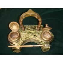 Tinteiro Antigo Em Mármore C/ Decoração Em Bronze