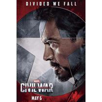 6 Placas Dec. Marvel Civil War - 30x20cm