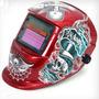 Mascara De Solda Automatica Auto Escurecimento Red Caveira