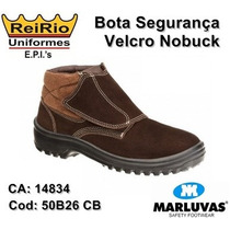 Bota Botina Velcro Marluvas Nobuck 50b26 Cb (nota Fiscal)