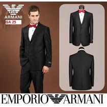 Terno Giorgio Armani Preto Brilhante Slim Fit 48