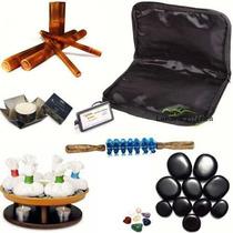 Kit Massagem Pedras Quentes,pindas,bambuterapia,rolo,vela
