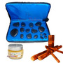 Kit Para Massagem Luxo Com Pedras Quentes,bambus, Vela Bolsa