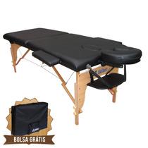 Mesa De Massagem Divã Cama Maca Portátil 2 Seções Cor Preta