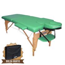 Mesa De Massagem Divã Cama Maca Portátil 2 Seções Cor Verde