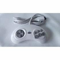 2 Controles Mega Drive Tectoy 6 Botões Original Branco/cinza