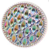 Botão De Vidro Redondo C/textura, Cor Iridescente 22,5mm (1)