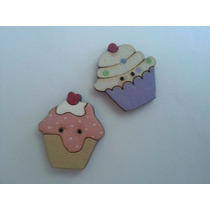 Botão Cupcakes Mdf Artesanal Madeira - Kit Com 30