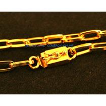 Conjunto Cordão 80cm + Pulseira Banhados Ouro - Fecho Gaveta