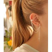 Brinco Ear Cuff Na Moda Corrente Liga De Zinco Ouro Ou Prata