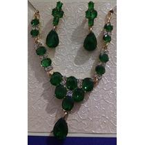 Colar E Brincos Esmeralda Verde Folheado Em Ouro 14k Strass